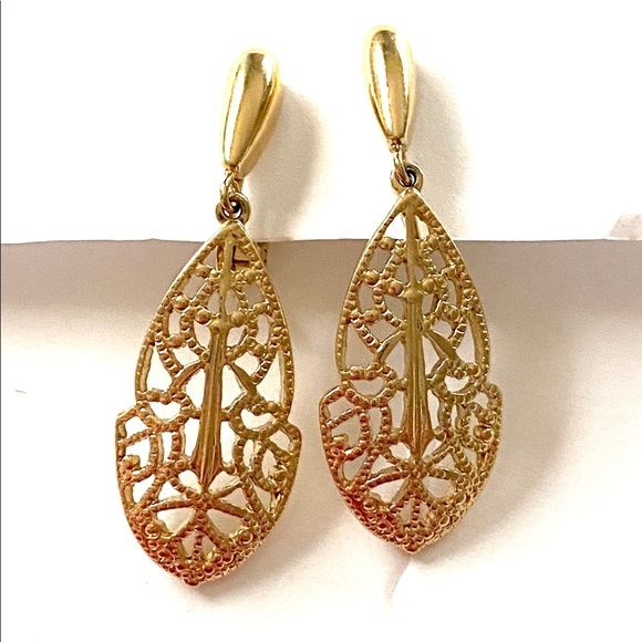 TRIFARI Gold Filigree Dangle Earrings Clip On